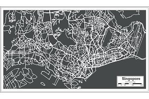 Singapore City Map in Retro Style.