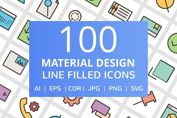 100 Material Design Filled Line Icon