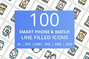 100 Smartphone & Watch Filled Icons