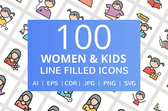 100 Women & Kids Filled Line Icons