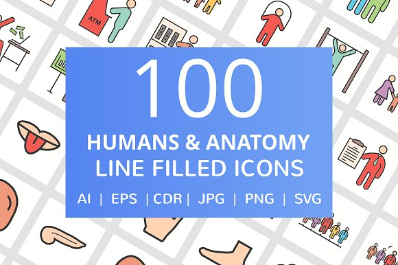 100 Human Anatomy Filled Line Icons in Graphics