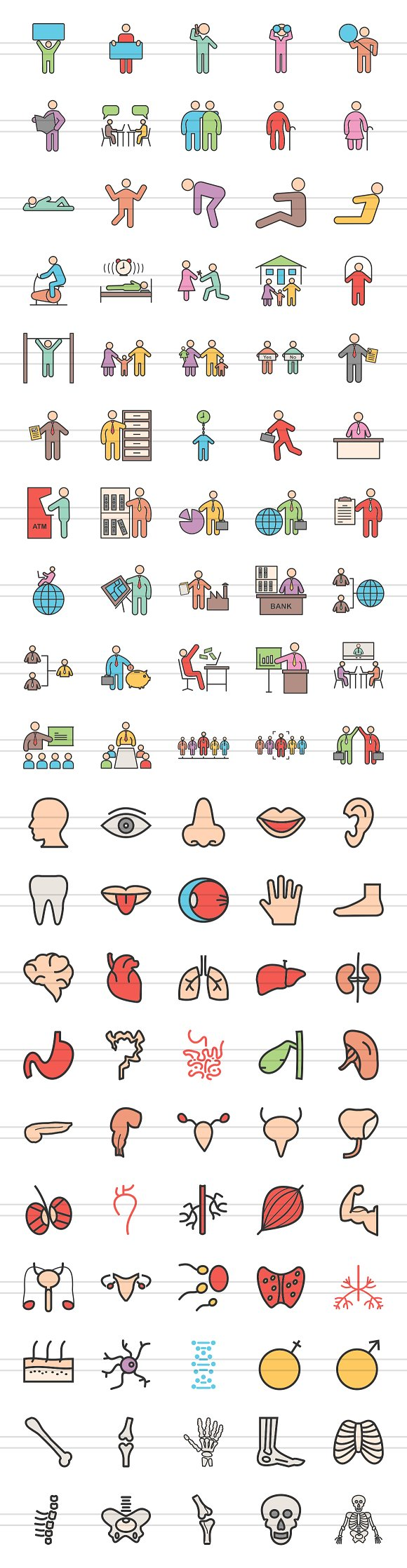100 Human Anatomy Filled Line Icons in Graphics - product preview 1