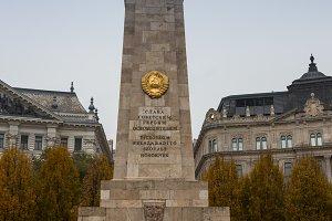 BUDAPEST, HUNGARY - 14 February 2016. Soviet Heroic Monument in Budapest.