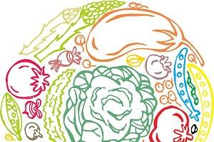 vegetable coaster doodle