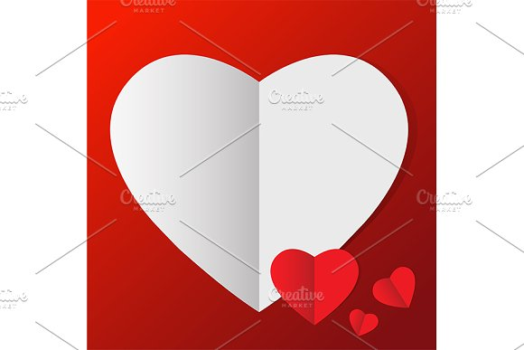 vector of heart in paper style