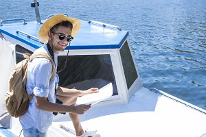 young yacht vacation, adventure or travel