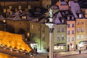 Warsaw Old Town in Poland by Night