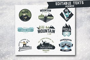 Winter Sports & Camping Labels Set