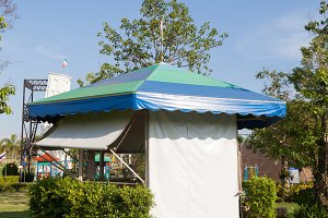 Canvas tent on the lawn