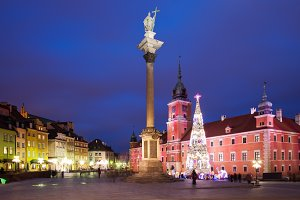 Old Town of Warsaw at Night