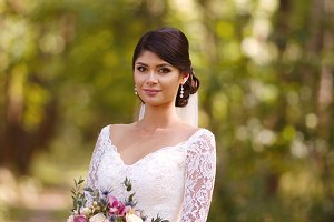 Beautiful bride in wedding white dre