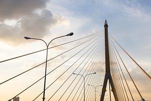 Rama VIII Bridge. In the evening