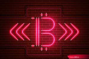 Vector bitcoin neon red light