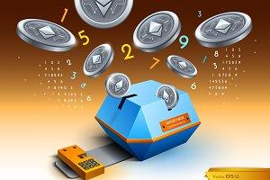 Digital vector bitcoin ethereum cryp