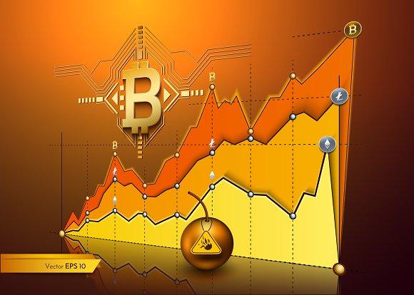Vector realistic bitcoin chart