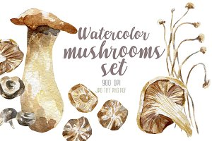 8 watercolor mushrooms set