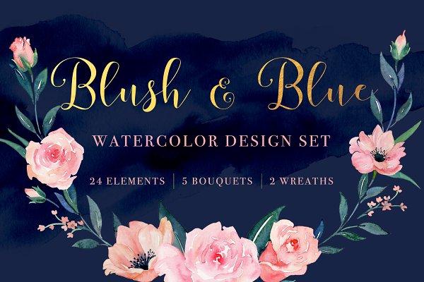 Blush and Blue Watercolor Design Se…