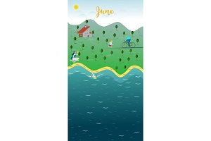 June Landscape. The family holidays to the lake.