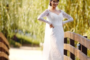 Beauty bride wearing fashion wedding