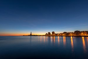 Badalona skyline at twilight