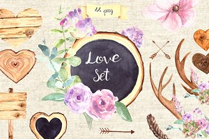 Watercolor Love Clip Art Set