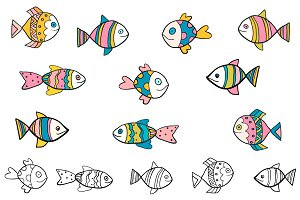 Hand drawn doodle fish clipart