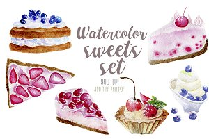 Watercolor 6 desserts set