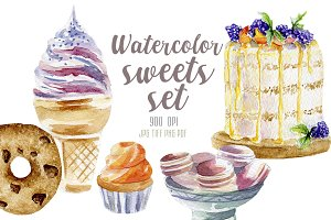 Watercolor desserts set