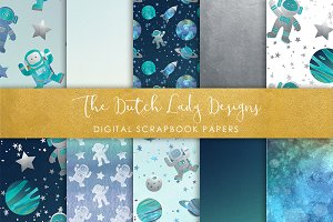 Galaxy Space Pattern Scrapbook Paper