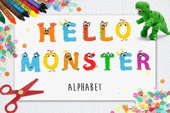 Monsters Alphabet - Vector Clipart