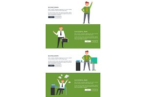Businessman and Successful Man Cartoon Banners