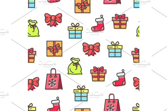 Christmas Pattern with Bags Vector Illustration