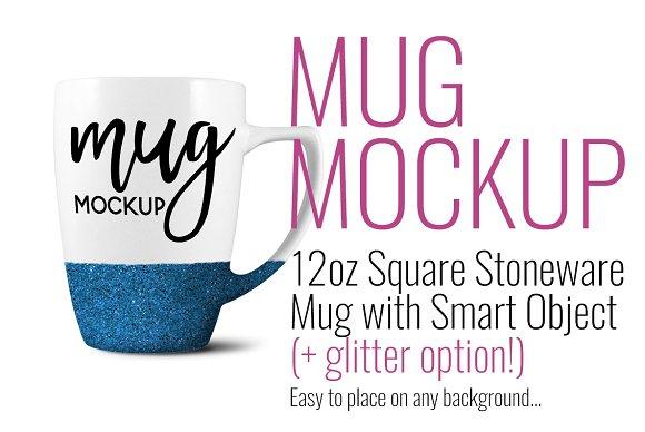Glitter White Square Stoneware Mug
