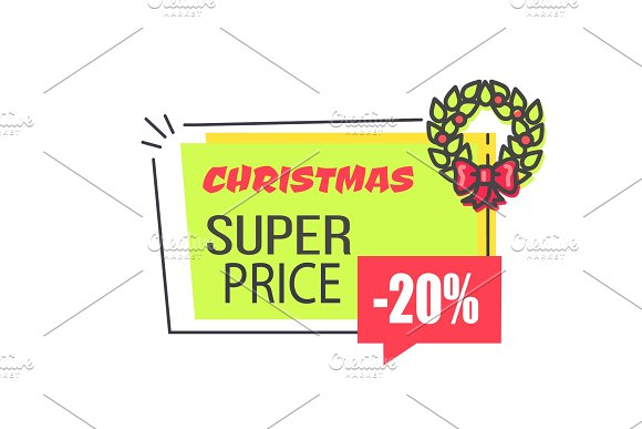 Christmas Super Price Label with 20% Discount