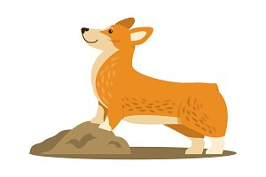 Happy Cute Corgi Dog Icon Vector Illustration