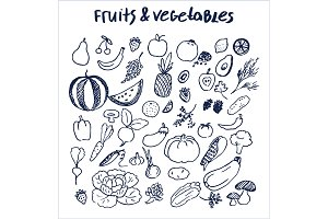 Fruits and Vegetables Set of Hand Drawn Elements