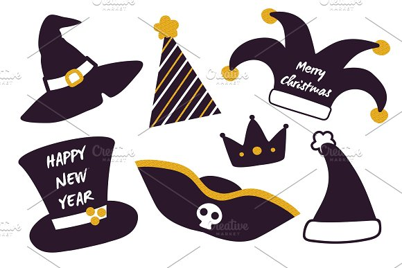 Merry Christmas Happy New Year Set of Festive Hats