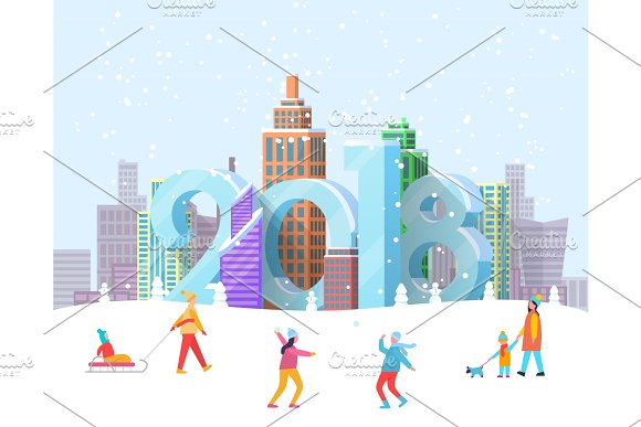 New Year 2018 Coming To City Vector Illustration