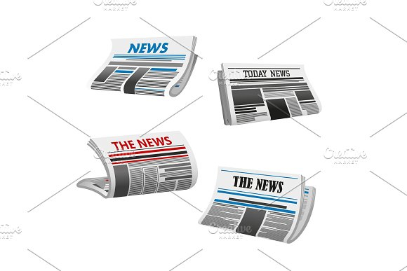 Newspaper icon of folded printed paper news