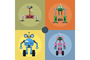 Colorful Iron Mechanical Robots Illustrations Set
