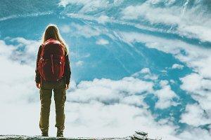 Traveler woman wander landscape