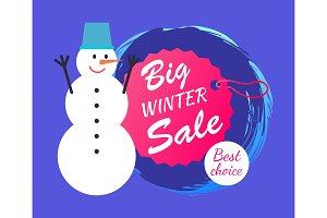 Big Winter Sale and Snowman Vector Illustration