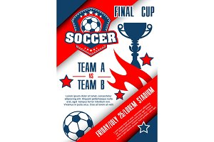 Football championship match poster of soccer cup