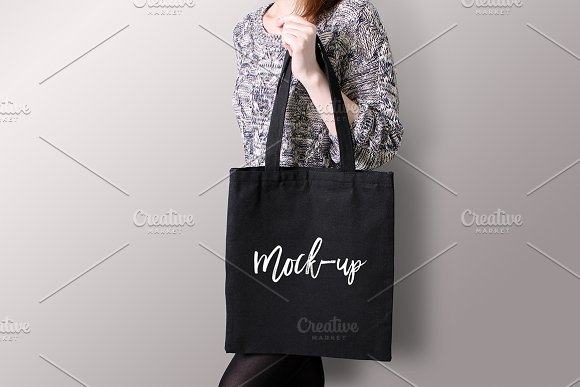 Download Black tote bag Mockup #5