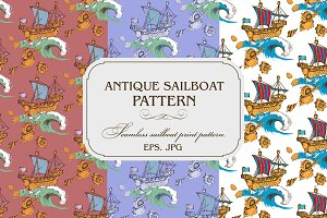 Seamless pattern. Antique sailboat.