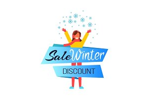 Sale Winter Discount Woman Vector Illustration