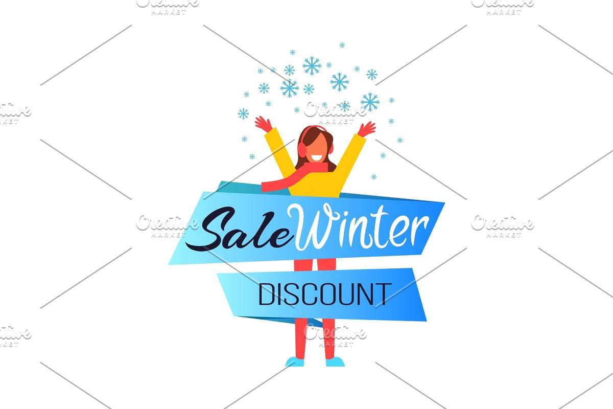 Sale Winter Discount Woman Vector Illustration