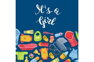 Vector it is girl illustration with lettering and baby accessories