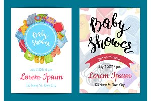 Vector baby shower invitation card templates