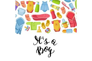 Vector it is a boy illustration with lettering and baby accessories